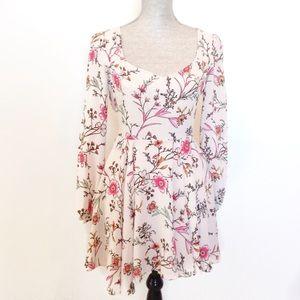 Long Sleeve Floral Print Swing Boho Mini Dress